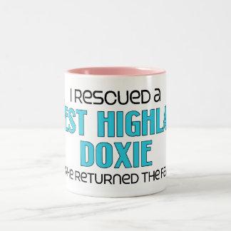 I Rescued a West Highland Doxie (Male Dog) Two-Tone Coffee Mug