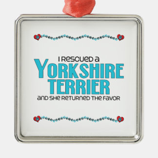 I Rescued a Yorkshire Terrier (Female Dog) Christmas Ornament