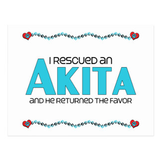 I Rescued an Akita (Male Dog) Postcard