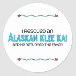 I Rescued an Alaskan Klee Kai (Male Dog) Round Stickers