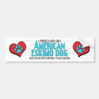 I Rescued an American Eskimo Dog (Female Dog) Car Bumper Sticker