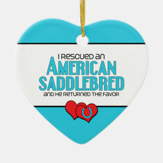 I Rescued an American Saddlebred (Male Horse) Ceramic Heart Decoration