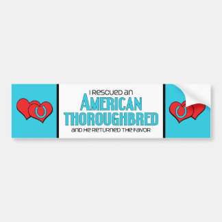 I Rescued an American Thoroughbred (Male Horse) Bumper Sticker