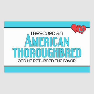 I Rescued an American Thoroughbred (Male Horse) Rectangle Sticker