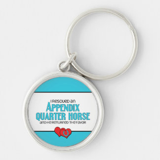 I Rescued an Appendix Quarter Horse (Male Horse) Silver-Colored Round Key Ring