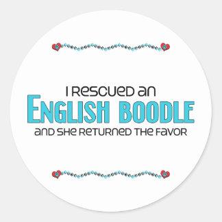 I Rescued an English Boodle (Female) Dog Adoption Round Sticker
