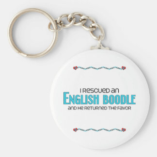 I Rescued an English Boodle (Male) Dog Adoption Basic Round Button Key Ring
