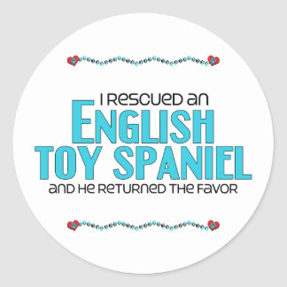 I Rescued an English Toy Spaniel Male Dog Stickers