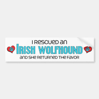 I Rescued an Irish Wolfhound (Female Dog) Car Bumper Sticker