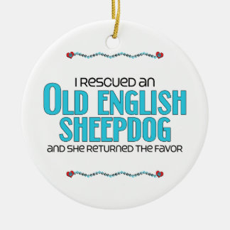 I Rescued an Old English Sheepdog (Female Dog) Christmas Ornament