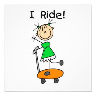 I Ride - Girl on Scooter Custom Invite