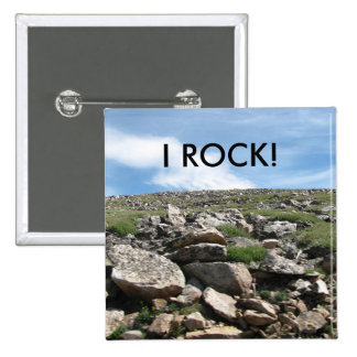 """""""I ROCK"""" Button! 15 Cm Square Badge"""