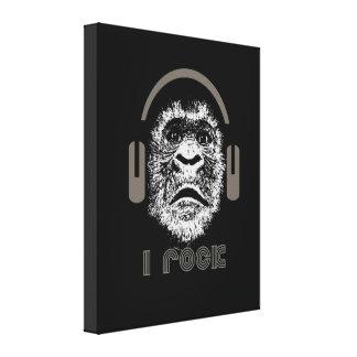 I Rock Gorilla Wearing Headphones Stretched Canvas Print