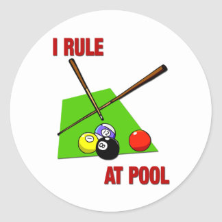 I Rule at Pool Round Sticker