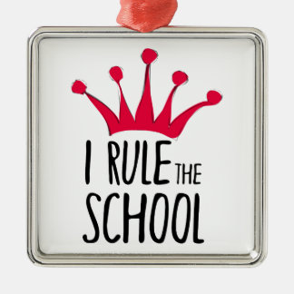 """I rule the school"" sign with pink crown, Silver-Colored Square Decoration"