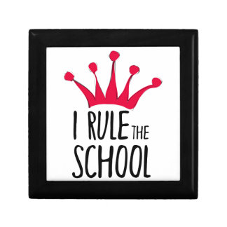 """""""I rule the school"""" sign with pink crown, Small Square Gift Box"""