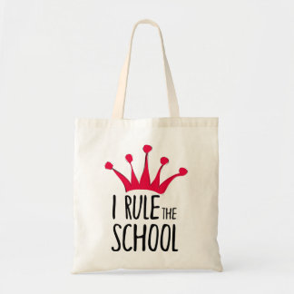 """""""I rule the school"""" sign with pink crown, Tote Bag"""