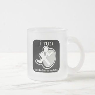 i Run Because Brain Cancer Matters 10 Oz Frosted Glass Coffee Mug