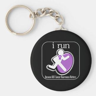 i Run Because GIST Cancer Matters Basic Round Button Key Ring