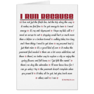 I Run Because - Good Luck Card
