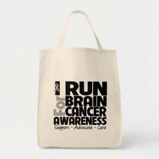 I Run For Brain Cancer Awareness Tote Bags
