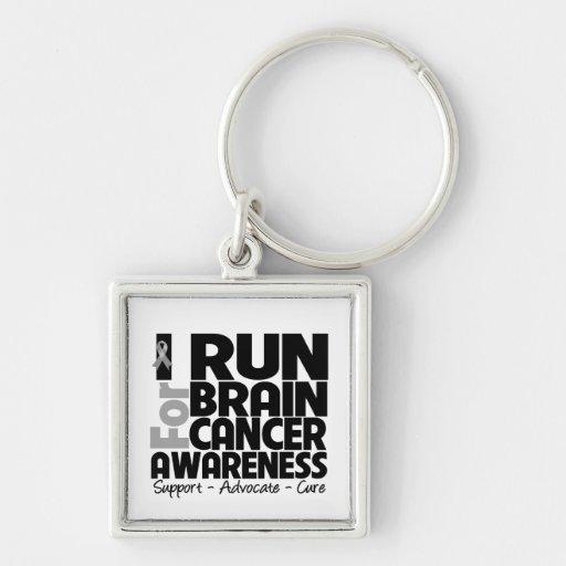 I Run For Brain Cancer Awareness Key Chains