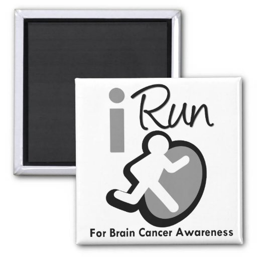 I Run For Brain Cancer Awareness Refrigerator Magnet