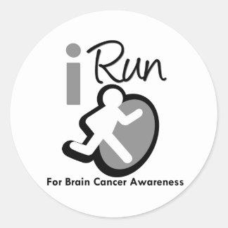 I Run For Brain Cancer Awareness Round Sticker