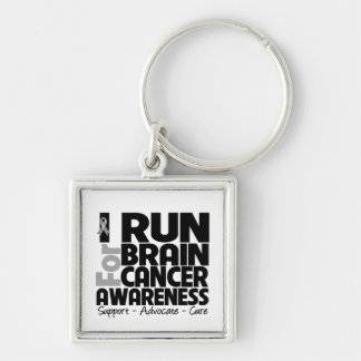 I Run For Brain Cancer Awareness Silver-Colored Square Key Ring