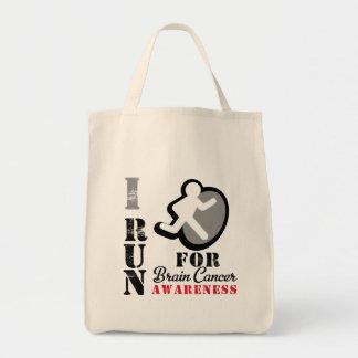 I Run For Brain Cancer Awareness Canvas Bags