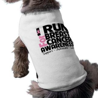 I Run For Breast Cancer Awareness Sleeveless Dog Shirt