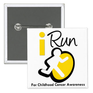 I Run For Childhood Cancer Awareness 15 Cm Square Badge