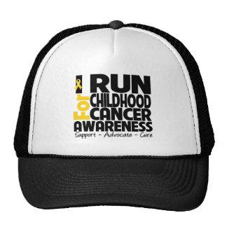 I Run For Childhood Cancer Awareness Trucker Hats