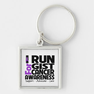 I Run For GIST Cancer Awareness Silver-Colored Square Key Ring