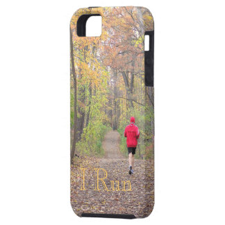 """""""I RUN""""(PHOTOG. PERSON RUNNING IN WOODS IN FALL) TOUGH iPhone 5 CASE"""