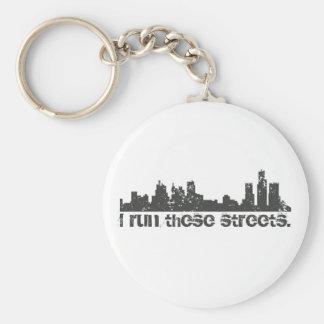 I Run These Streets (Detroit) Skyline Basic Round Button Keychain