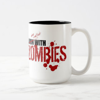 I RUN WITH ZOMBIES Two-Tone COFFEE MUG