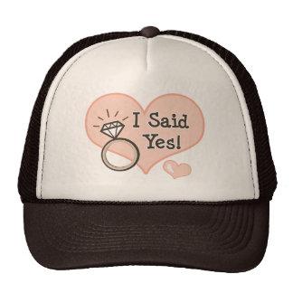 I Said Yes Bride Engagment Cap Hats