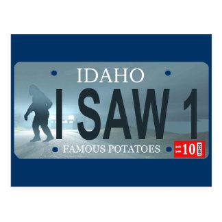 """I Saw 1"" Sasquatch License Plate Postcard"