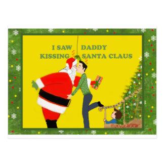 I Saw Daddy Kissing Santa Claus Gay Christmas Postcard