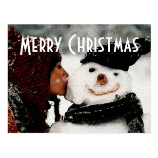 I Saw Mommy Kissing Frosty Christmas Postcard