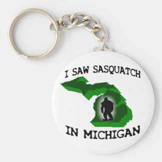 I Saw Sasquatch In Michigan Basic Round Button Key Ring
