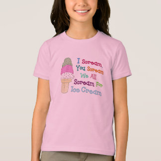 I Scream You Scream IceCream Girl's Ringer T-Shirt
