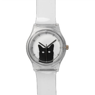 I See Cat Click to Pick Your Color Background Wristwatches