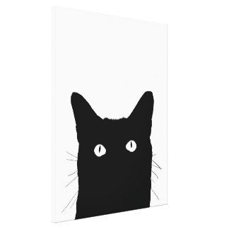 I See Cat Click to Select Your Color Background Stretched Canvas Prints