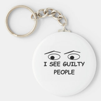 I see guilty people basic round button key ring