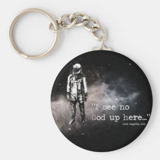 I see no god up here basic round button key ring