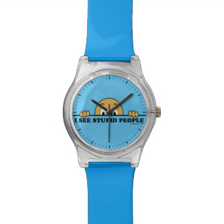 I See Stupid People Funny Saying Design Wrist Watches