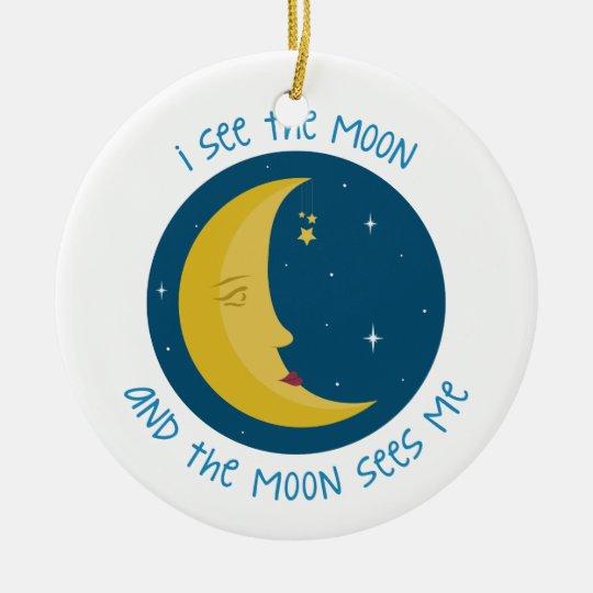 I See The Moon Round Ceramic Decoration