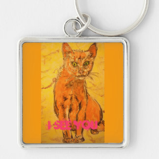 i see you cat Silver-Colored square key ring